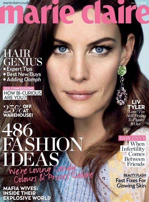 Liv Tyler is ready for her close-up for Marie Claire UK's March issue