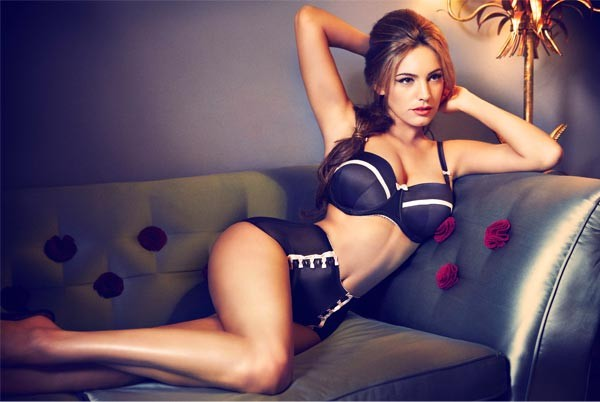 Kelly Brook showcases her enviable curves and her New Look lingerie range all in one go