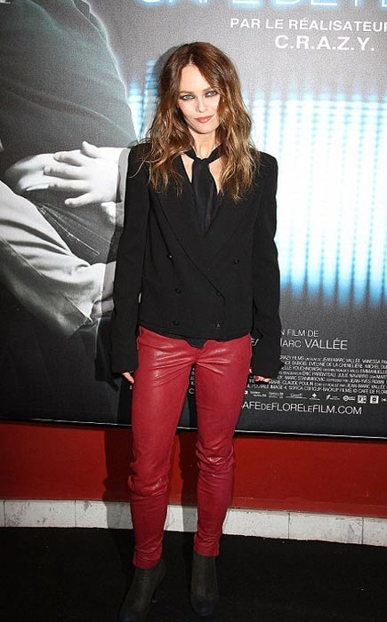 Vanessa Paradis vamps it up in red leather at the Café de Flore premiere