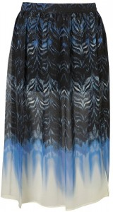 Topshop Marble Run Print Calf Length Skirt