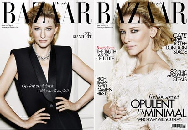 Cate Blanchett's opulent vs minimal Harper's Bazaar UK covers
