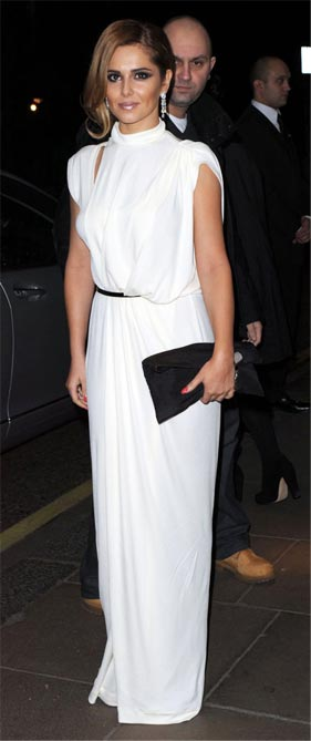 Cheryl Cole looks heavenly in white at Prince's Trust dinner