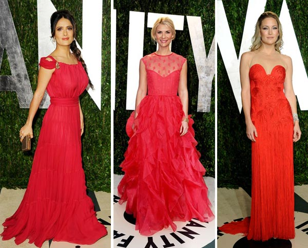 Salma Hayek v Claire Danes v Kate Hudson  – ladies in red at the Vanity Fair Oscars party