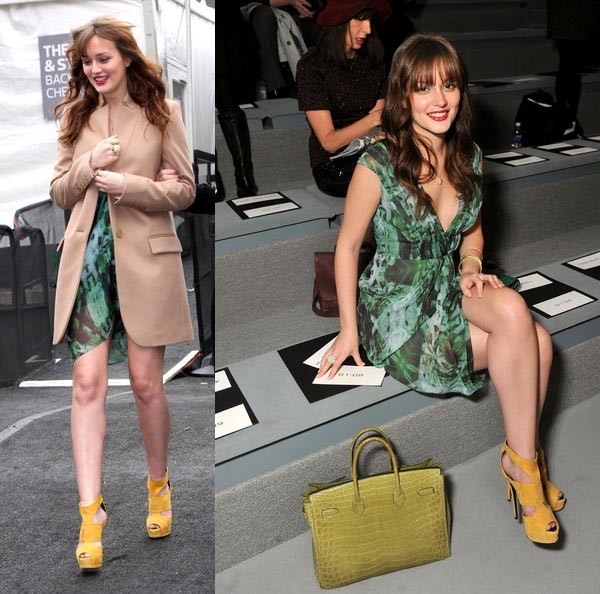 Leighton Meester looks ready for spring at Vera Wang's NYFW show!