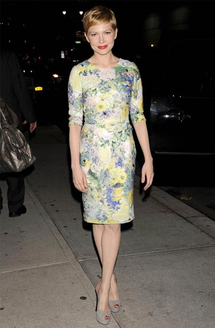 What winter weather? Michelle Williams rocks Erdem's florals and pastels in New York
