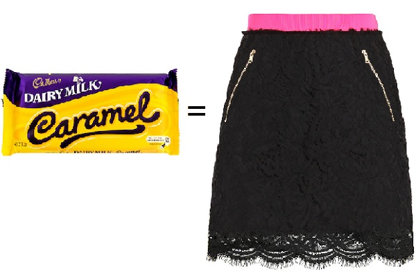 Fashion Calculator: Cadbury's Caramel Vs MSGM Lace Skirt