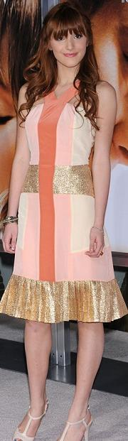 STYLE JURY: Rate or Slate Bella Thorne in 2b. RYCH Y-Strap Colorblock Dress