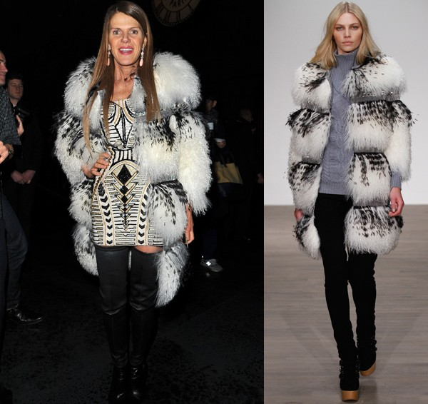 Anna Dello Russo keeps warm in Matthew Williamson