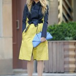 Blake Lively's looking bright and beautiful in Reed Krakoff on the Gossip Girl set