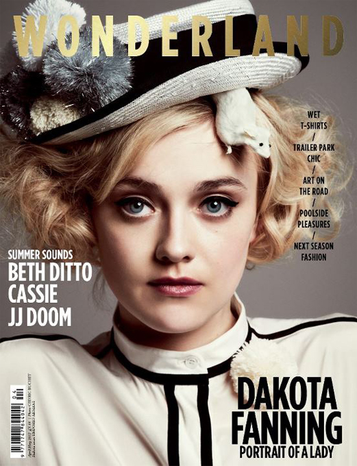 Dakota Fanning and a mouse get cosy for Wonderland's April/May issue