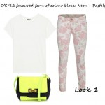 How to Wear: Current Elliott Red Rose Print Stiletto Skinny Jean