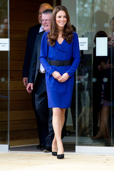 Kate Middleton delivers her first official speech in royal blue Reiss dress
