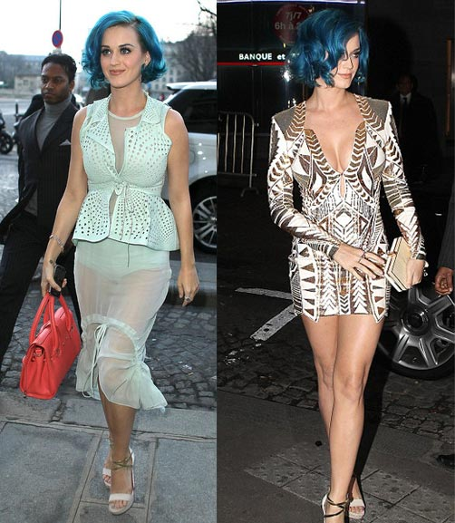 Katy Perry wears soft Vera Wang and sexy Balmain to Paris Fashion Week