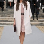 Mila Kunis pretties up the Paris Fashion Week FROW in pastel Dior