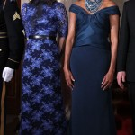 Samantha Cameron and Michelle Obama are ladies in blue at White House state dinner
