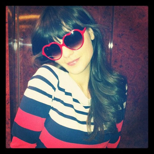 Zooey Deschanel is super-duper cute in stripy Shoshanna