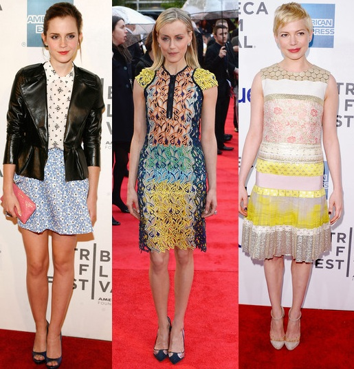 Rate or Slate: Emma Watson in Miu Miu,Taylor Schilling in Peter Pilotto and Michelle Williams in Giambattista Valli