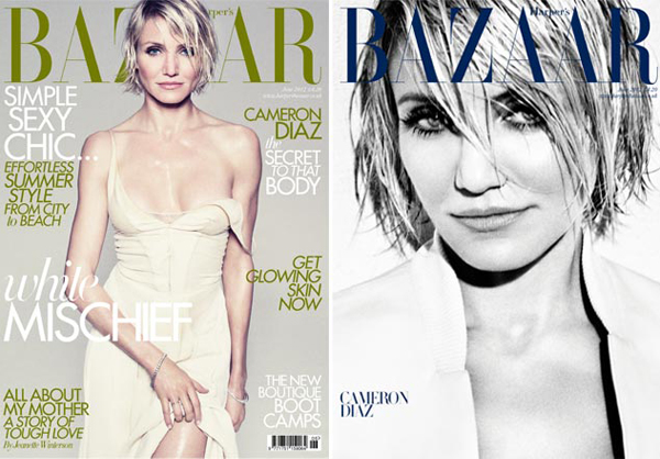 Cameron Diaz smoulders on June's Harper's Bazaar UK covers
