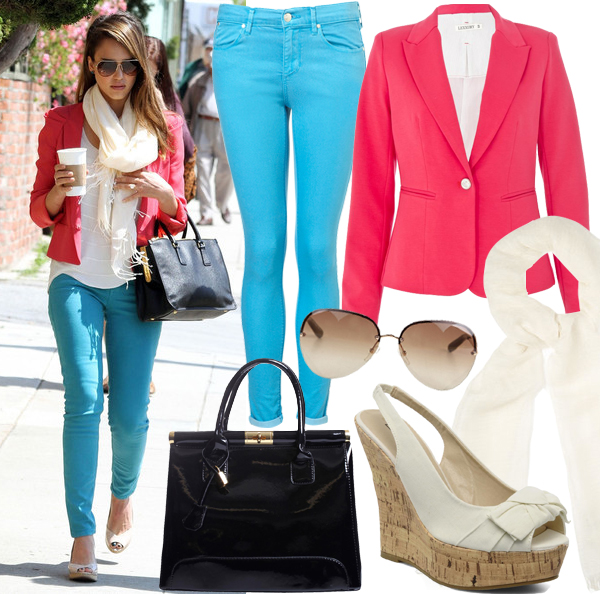 Get Jessica Alba's colour block look