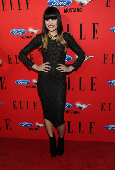 Jessie J looked lovely in leopard at the Elle Women in Music awards