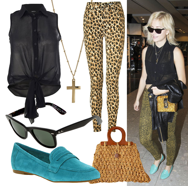 Get Pixie Lott's printed rock 'n' roll look