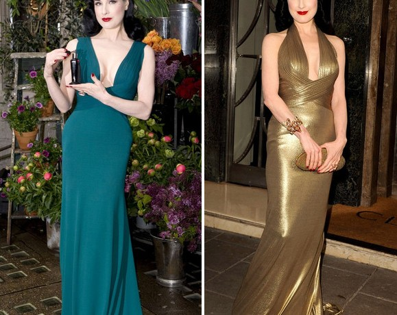 Dita von Teese wears blue and gold Herve L. Leroux in London