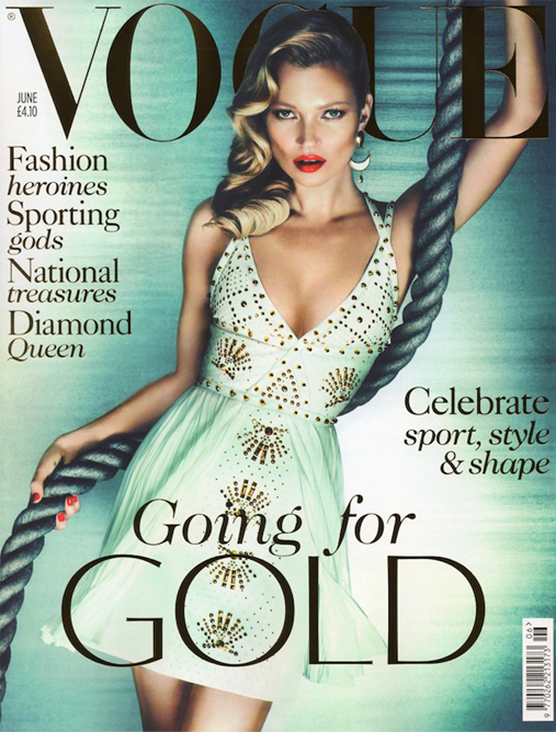 Kate Moss wears Versace for British Vogue's June cover
