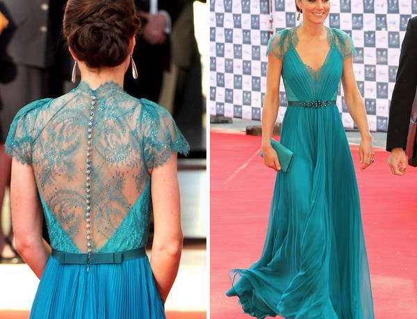 Kate Middleton looks like a princess in turquoise custom Jenny Packham