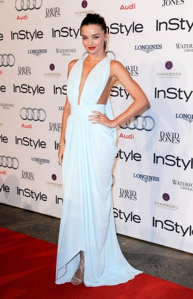 Miranda Kerr is perfect in pale blue Carla Zampatti
