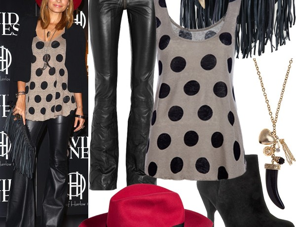 Get Nicole Richie's leather and polka dot look