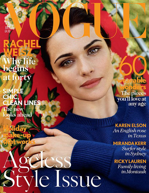 Rachel Weisz poses in Celine for British Vogue's July issue
