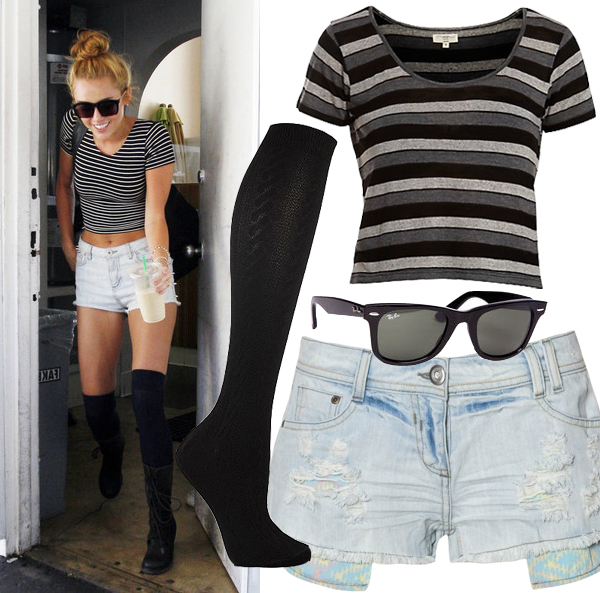 Get Miley Cyrus's cropped faded denim look