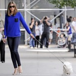 Olivia Palermo makes dog-walking stylish