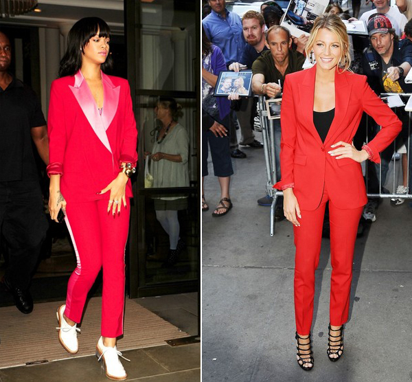Who rocked their red tux better – Blake Lively or Rihanna?