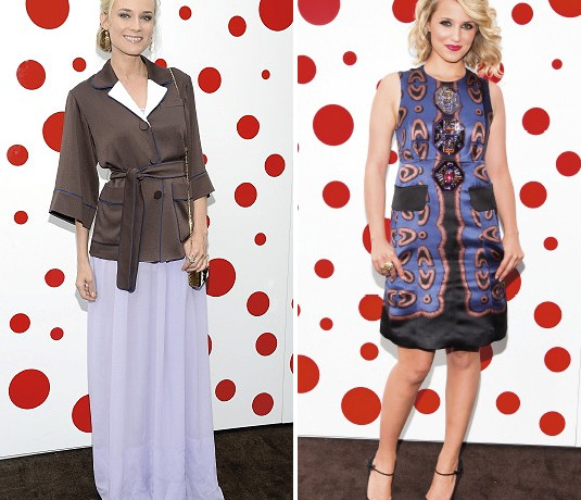Diane Kruger and Dianna Agron sport contrasting looks at Louis Vuitton party