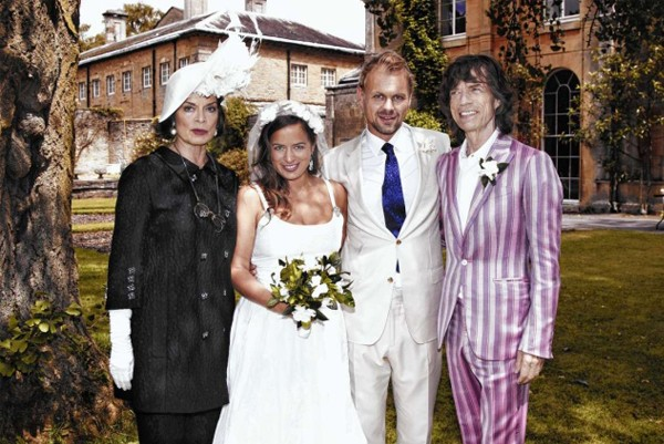 Jade Jagger marries Adrian Fillary in a wedding dress she designed herself!