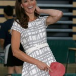 Kate Middleton plays table tennis in Hobbs dress