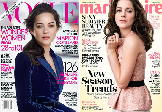 Marion Cotillard covers both American Vogue and Marie Claire UK this month