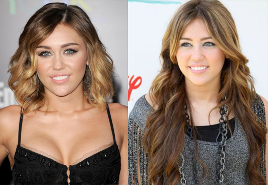 ... and after: Celebrities with and without their hair extensions