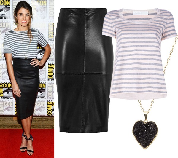 Get Nikki Reed's stripe and leather look