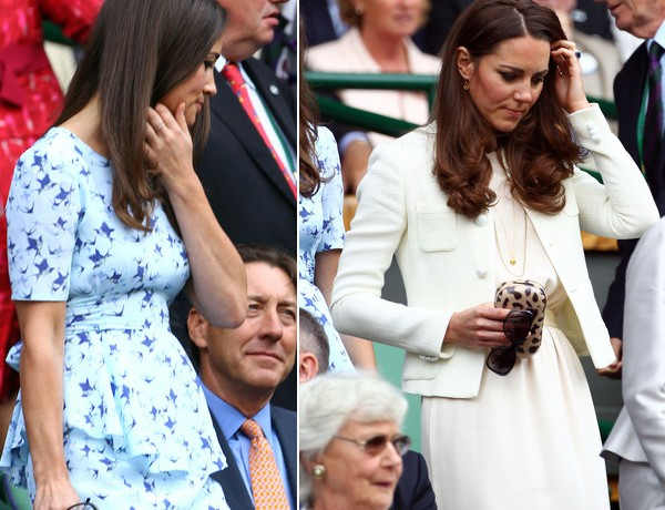 What did Kate Middleton and sister Pippa wear to the Wimbledon Men's Final yesterday?