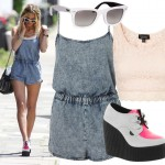 Get Sarah Harding's playsuit and creepers look