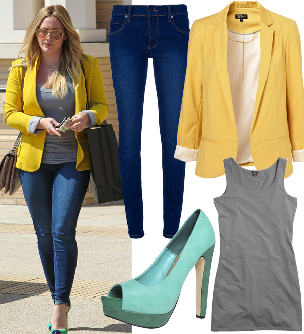 Get Hilary Duff's colourful structured daytime look