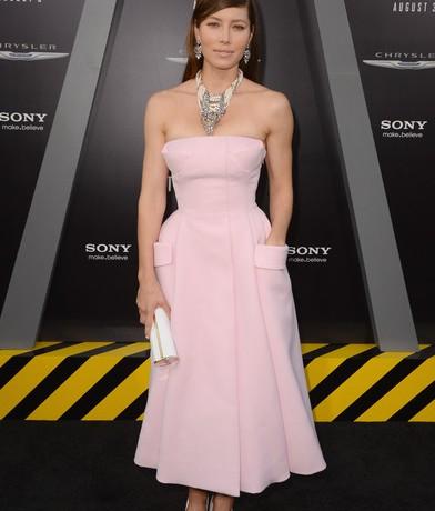 Jessica Biel dons Dior Couture for Total Recall LA premiere