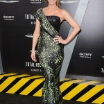 Kate Beckinsale wears reptile Armani Privé to Total Recall premiere