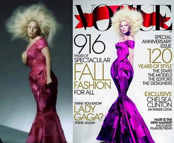 Lady Gaga's Vogue September cover… before and after Photoshop