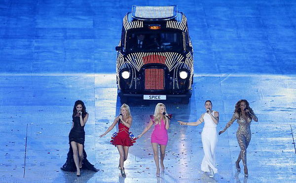 The Spice Girls and a host of top Brit models help close the London 2012 Olympics in style