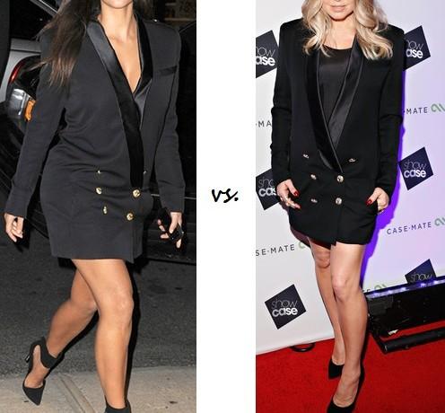 Kim Kardashian vs. Fergie in Balmain