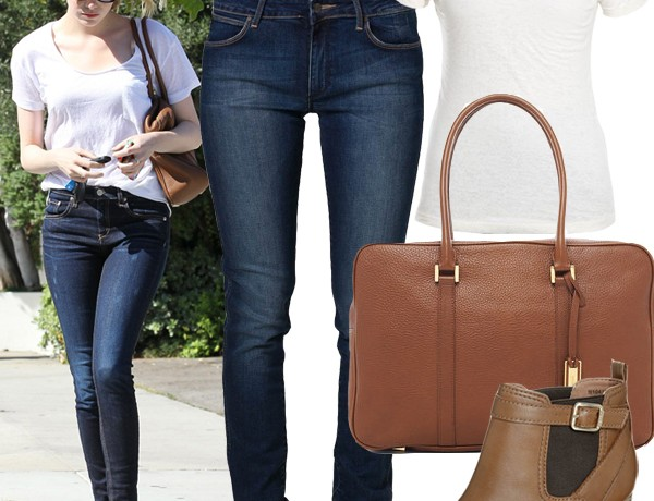 Get Emma Stone's simple jeans-and-tee look