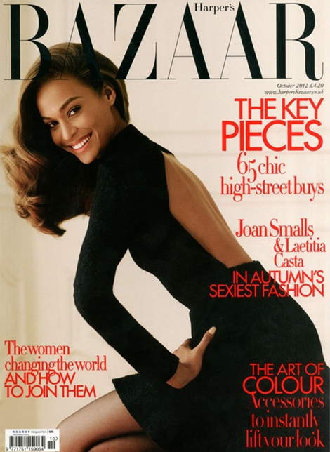 Harper's Bazaar UK celebrates the model as Joan Smalls and Laetitia Casta cover October issue